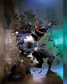 marvel:Venom vs Spidey by Carlos Cabrera Heros Comics, Bd Comics, Marvel Comics Art, Marvel Heroes, Marvel Characters, Aquaman Comics, Captain Marvel, All Spiderman, Amazing Spiderman