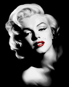 Marilyn Monroe........LOVE THIS BLACK AND WHITE WITH ONLY THE BRIGHT-RED LIPSTICK FOR COLOR........SHE WAS SO PRETTY.......HARD LIFE .........ccp