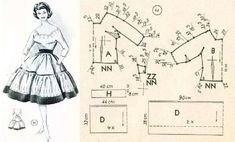 1950 Dress with Full Skirt Pattern Pattern Drafting Tutorials, Vintage Sewing Patterns, Clothing Patterns, Sewing Tutorials, Barbie Patterns, Dress Patterns, Pants Pattern, Bodice Pattern, Sleeve Pattern