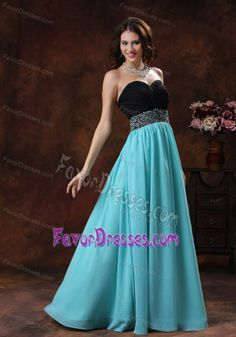 Turquoise and black long  Bridesmaid Dresses | Sweetheart Beaded Long Nice Prom Dresses in Aqua Blue and Black