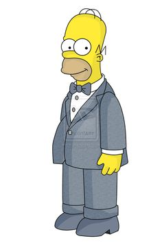 Whoa! Homer Simpson looks so handsome! I wonder if he's going to a wedding party? Who knows?