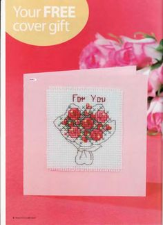 Photo from album on Yandex. Cross Stitch Cards, Cross Stitch Samplers, Cross Stitch Flowers, Cross Stitch Embroidery, Embroidery Cards, Free Cover, Gifts For Father, Planting Flowers, Needlework