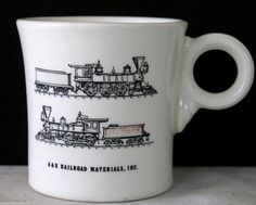 RARE Fiestaware Advertising Mug Railroad Fiesta Tom And Jerry Vintage Fiesta #Fiesta