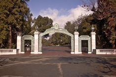 Photo about This is a view of the famous landmark Sather Gate at the University of California at Berkeley. Image of classic, sather, landmark - 12057671 Berkeley Campus, Famous Landmarks, Business School, Photo Location, College Life, Gate, California, Mansions, House Styles