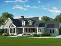 Many different plans---The Brunswicke This country cottage house plan lives much larger than it looks, as the twin dormers and multiple gables combine for a striking facade. Open House Plans, Cottage Floor Plans, Basement House Plans, House Plans One Story, Story House, House Floor Plans, Style At Home, Country Style House Plans, Cottage House Designs