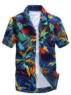 a4feab49326 Short Sleeve Leaf Printed Hawaiian Shirt - BLUE 4XL Fashion Men