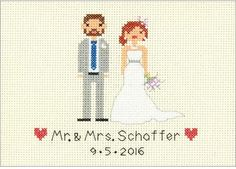 Dimensions Bride and Groom Wedding Record - Cross Stitch Kit. Cross stitch kit featuring a Bride and Groom Wedding Record. This package contains 14-count ivory