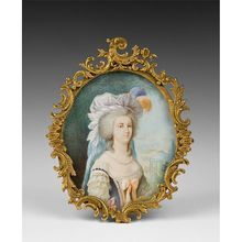 Mid C. French Miniature Portrait on Ivory of Marie Antoinette in one of her famous Mob caps with feathers. The painting is signed by the artist, Lafay. Ancient History, Art History, Holy Roman Empire, Miniature Portraits, Marie Antoinette, Signs, 18th Century, Miniatures, Mythology