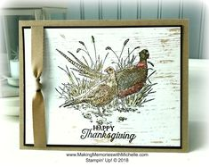 Wow Wednesday: Wink of Watercolor - Michelle Zanavich, Stampin' Up! Masculine Birthday Cards, Masculine Cards, Fall Cards, Christmas Cards, Bird Cards, Men's Cards, Wink Of Stella, Stamping Up Cards, Thanksgiving Cards