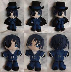 Mini Plushie, Ciel Phantomhive, Blue Ensemble by ThePlushieLady on DeviantArt Anime Diys, Ciel Phantomhive, Plushies, Smurfs, Chibi, Wicked, Geek Stuff, Felt, Diy Crafts