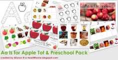 A Heart For Home: Free Printable: Aa is for Apple Tot & Preschool Pack