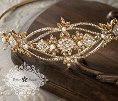 Bitter Sweet Jewellery Bridal Collection, gold plated headband. #gold #14k #pearl #vintage #luxury #elegant #bridal #leaf #floral #delicate #wedding #gown #CZ #sparkle #clear #crystal #hair