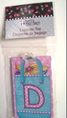 Mary-Engelbreit-Pink-Initial-D-Luggage-Tag-2-3-8-x-4-Studio-18-New-In-Package