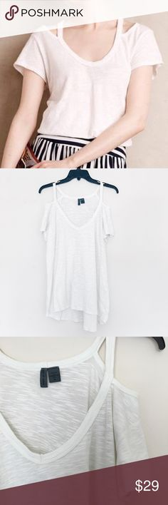 Anthropologie Cut Out Tee Comfy yet hot! Cut outs on shoulders to show off those gorgeous neck a and collar bones! Flowy! Can be worn casual or dress up! Anthropologie Tops Tees - Short Sleeve