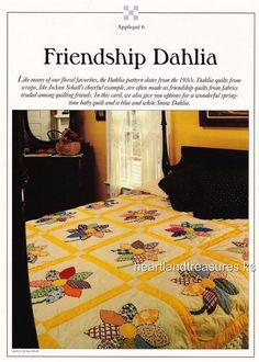 Friendship Dahlia Best Loved Quilt Pattern w/ Flexible Plastic Templates