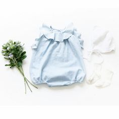 Pink Pacific Baby Ruffle Ice Denim Romper