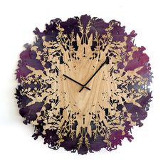 Botanica Clock projects organic shapes in wood construction Wall Clock Wooden, Rustic Wall Clocks, Unique Wall Clocks, Wood Clocks, Wooden Lamp, Rustic Walls, Wooden Walls, Clock Wall, Extra Large Wall Clock