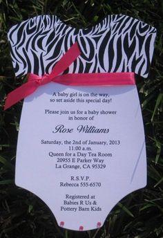 Zebra Print Hot Pink Onesie Baby Shower Invitations Diecut | Keepsakeimprints - Cards on ArtFire