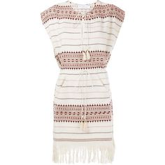 Zimmermann Fringed Hem Poncho Dress ($121) ❤ liked on Polyvore featuring dresses, zimmermann dresses, short white dresses, embroidered dress, white day dress and cotton dresses