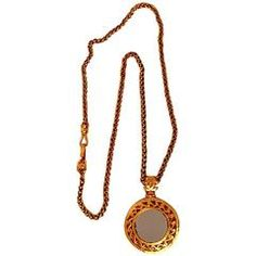"""Chanel Gold Sautoir"""" Mirror Pendant Neckace   From a collection of rare vintage pendant necklaces at https://www.1stdibs.com/jewelry/necklaces/pendant-necklaces/"""