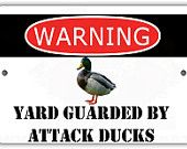 Yard Guarded by Attack Ducks Indoor/Outdoor Aluminum No Rust No Fade Sign Diaper Train, Chicken Saddle, Aluminum Signs, Scratch Off, Making Out, High Gloss, Indoor Outdoor, Rust, Custom Design