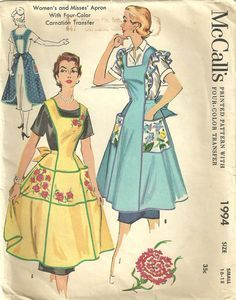 Vintage Original Apron Printed Pattern McCall's Large 1994 H Back 1955 Transfer Sewing Aprons, Mccalls Sewing Patterns, Vintage Sewing Patterns, Sewing Clothes, Clothing Patterns, Dress Patterns, Print Patterns, Vintage Apron Pattern, Aprons Vintage