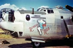 "Liberator code ""Never Mrs"" of the BG, BS in England 1944 Ww2 Aircraft, Military Aircraft, Dolly Sisters, Aircraft Painting, Airplane Art, Nose Art, Big Trucks, Pickup Trucks"
