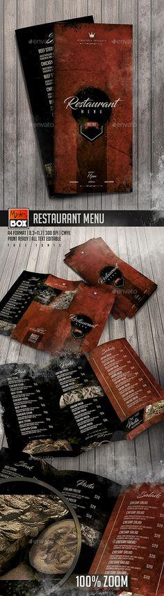Restaurant Menu — Photoshop PSD #vintage menu #print template • Download ➝ https://graphicriver.net/item/restaurant-menu/19719889?ref=pxcr