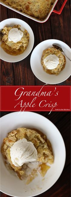 Grandma's Apple Crisp is a timeless recipe; it will warm your soul with juicy, tender apples, and a crisp, buttery, melt-in-your-mouth topping.