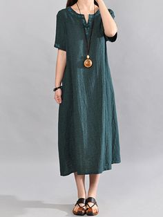 93ad22ce916 Women Short Sleeve Embroidery Loose O-neck Dresses - Banggood Mobile Linen  Dresses