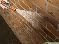 How to Stain Brick. People stain brick for many reasons: to make repairs match the rest of the wall, to complement surrounding decor, or just to create a great color change. Unlike paint, stain will seep into and bond with the brick,. Diy Exterior Brick, Stained Brick Exterior, Stain Brick, Painted Brick Exteriors, Exterior Cladding, Exterior Paint Colors, Paint Colors For Home, Brick Porch, Brick Patios