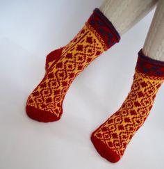 Handknit thick soft wool small women children teens girls socks long cuff red yellow Christmas gift