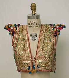 Wedding tunic Date: century Culture: Tunisian Medium: silk, cotton, metallic Dimensions: Length: 14 in. cm) Credit Line: Gift of Dr. Pakistani Dresses, Indian Dresses, Indian Outfits, Indian Attire, Indian Wear, Ethnic Fashion, Indian Fashion, African Fashion, Boho