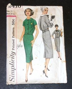 Vintage 1950s Simplicity 2410 Jr Misses 2 Pc Middy Complete Cut Pattern Size 11