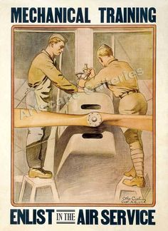 """This vintage World War I poster features two airmen working on a plane. It reads, """"Mechanical Training, Enlist In The Air Service"""". Celebrate American and History with this digitally restored vintage war poster from The War Is Hell Store. Banksy, Vintage Ads, Vintage Posters, Vintage Labels, Vintage Style, Ww1 Posters, Illustration Techniques, Canvas Art, Canvas Prints"""