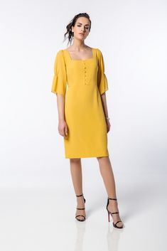 Regular Fit : Φόρεμα midi με κουμπάκια-9259 Cold Shoulder Dress, Dresses, Fashion, Vestidos, Moda, Fashion Styles, Dress, Dressers, Fashion Illustrations