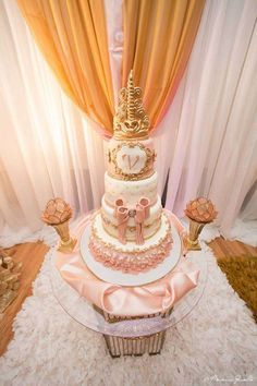 Pink and gold cake at a royal princess birthday party! See more party ideas at CatchMyParty.com!