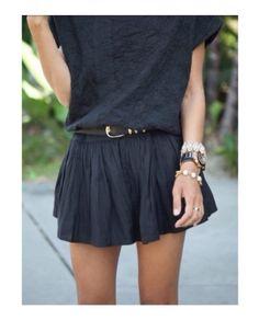 black skirt. black shirt. black belt