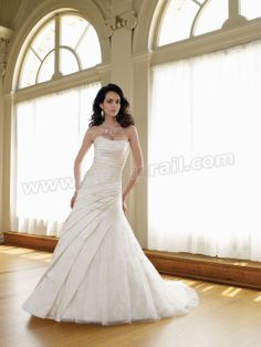 Satin and Tulle Softly Curved Neckline Directionally Pleated Bodice A-line Wedding Dress