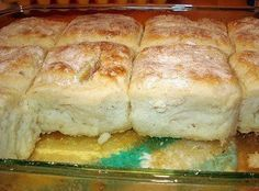 7up biscuits 4c bisquick, 1c sour cream, 1c 7up, 1/2c melted butter mix all but butter, knead, fold, pat dough out, cut biscuits, melt butter in bottom of cookie sheet/9x13 pan, place biscuits on top of butter, bake 12-15min @ 425 degrees