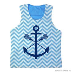 ChalkTalkSPORTS Girls Lacrosse Racerback Pinnie Lacrosse Sticks Anchor with Chevron. 100% polyester. Pick, pull, pill resistant. Moisture and odor management fabric. Each pinnie is made to order - slight variations may occur due to material and process and there may be small amount of white mesh in the seams of the pinnie. Official ChalkTalkSPORTS Brand Product - Passionate about sports and the products we make.