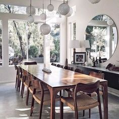 Dining Room Inspiration: 10 Scandinavian Dining Room Ideas You'll Love Living Room Light Fixtures, Living Room Lighting, Dining Room Design, Dining Room Table, Dining Room With Mirror, Lighting Over Dining Table, Dining Area, Rooms Home Decor, Room Decor