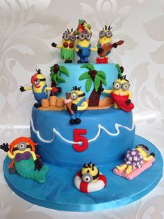 Minion beach party cake