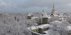 winter view of Vana Tallinn's wall from Tompea 12th Century, Cathedral, Mansions, House Styles, City, Building, Winter, Wall, Winter Time