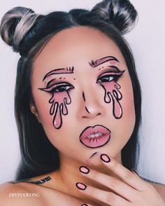 CRY BABY / A little messy and rushed but I had fun with this makeup look.  Instagram @divinawong #makeup #makeupoftheday #popart #makeupart