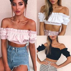 Crop Top Off Shoulder T Shirt Elastic Slash Neck Short Sleeve Bow Women Elastic Womens Sleeveless Tops, Sleeveless Crop Top, Off Shoulder T Shirt, Classy Work Outfits, Girls Blouse, T Shirt Vest, Crop Top Outfits, Sexy Shirts, African Fashion Dresses