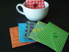 Tea Bag Envelope Favors with Button Closures SET by PapermadebyK