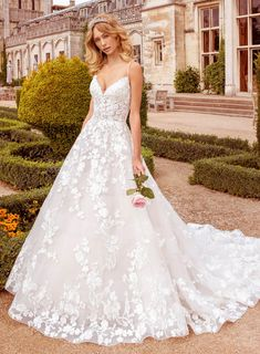 Our stunning lace ball gown wedding dress has a combination of floral embroidered lace and horse hair banding on the skirt. For a bride writing her own modern princess fairy-tale. Find a stockist near you and request an appointment. Wedding Dresses With Straps, Perfect Wedding Dress, Bridal Wedding Dresses, Designer Wedding Dresses, Skinny Wedding Dress, Dream Wedding, Wedding Veil, Summer Wedding, Lace Wedding