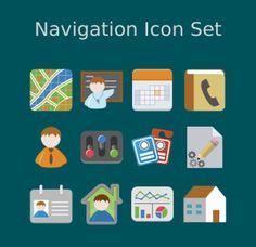 Flat Icon Set by Kwan Man Cheng, via Behance