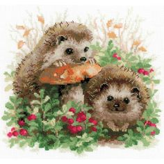 "Hedgehogs In Lingonberries Counted Cross Stitch Kit-9.75""X9.75"" 14 Count"